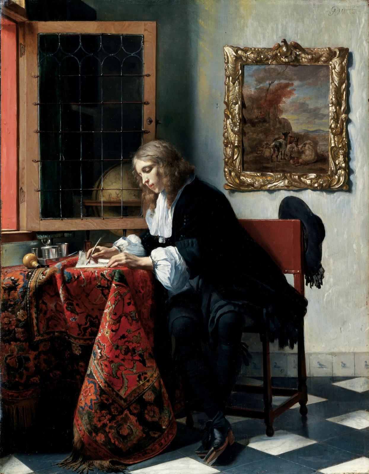 Gabriel Metsu (1629-1667), Jeune homme écrivant une lettre, 1664-1666, huile sur panneau, 52x40,5cm, Dublin, National Gallery of Ireland, Sir Alfre