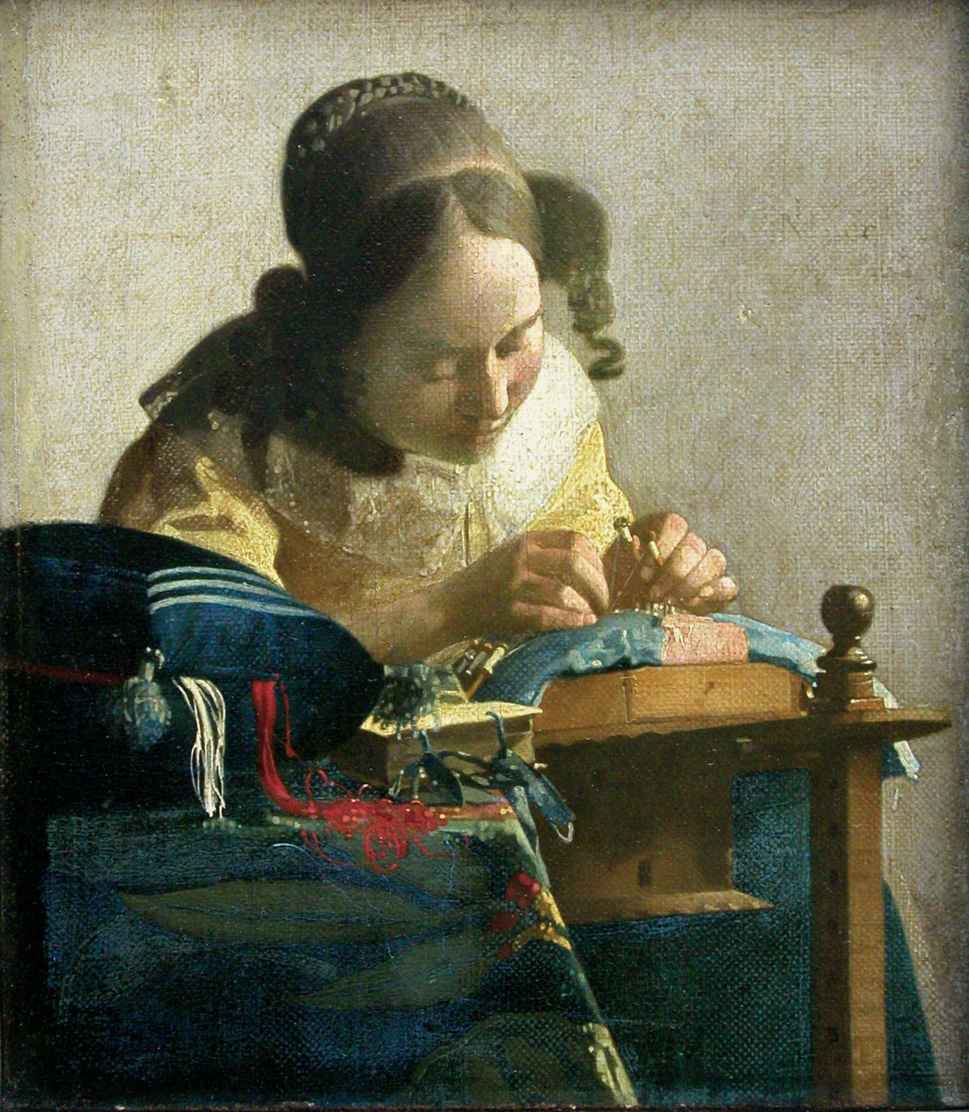 Johannes Vermeer (1632-1675), La Dentellière, vers 1669-1670, huile sur toile marouflée sur panneau. 24,5x21cm. Paris, musée du Louvre. ©RMN-Grand