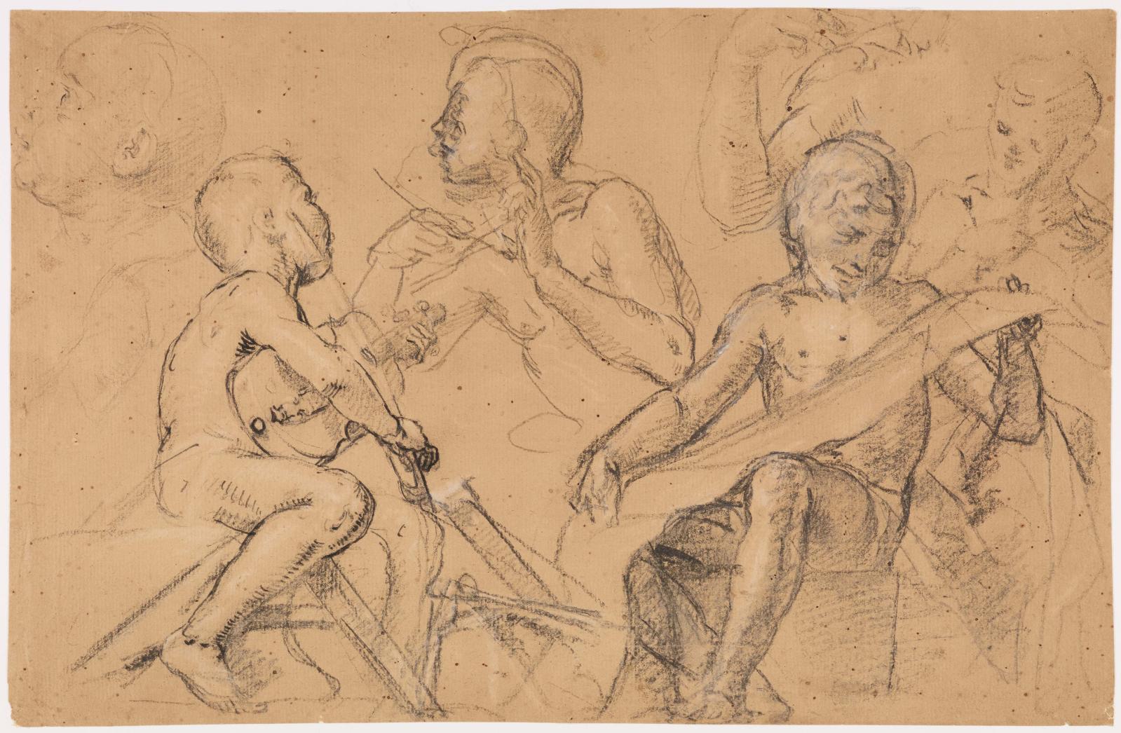 Pietro Candido(vers 1548-1628), Esquisses de garçons jouant d'instruments de musique, pierre noire et fusain, plume et encre noire, rehauts de blanc,