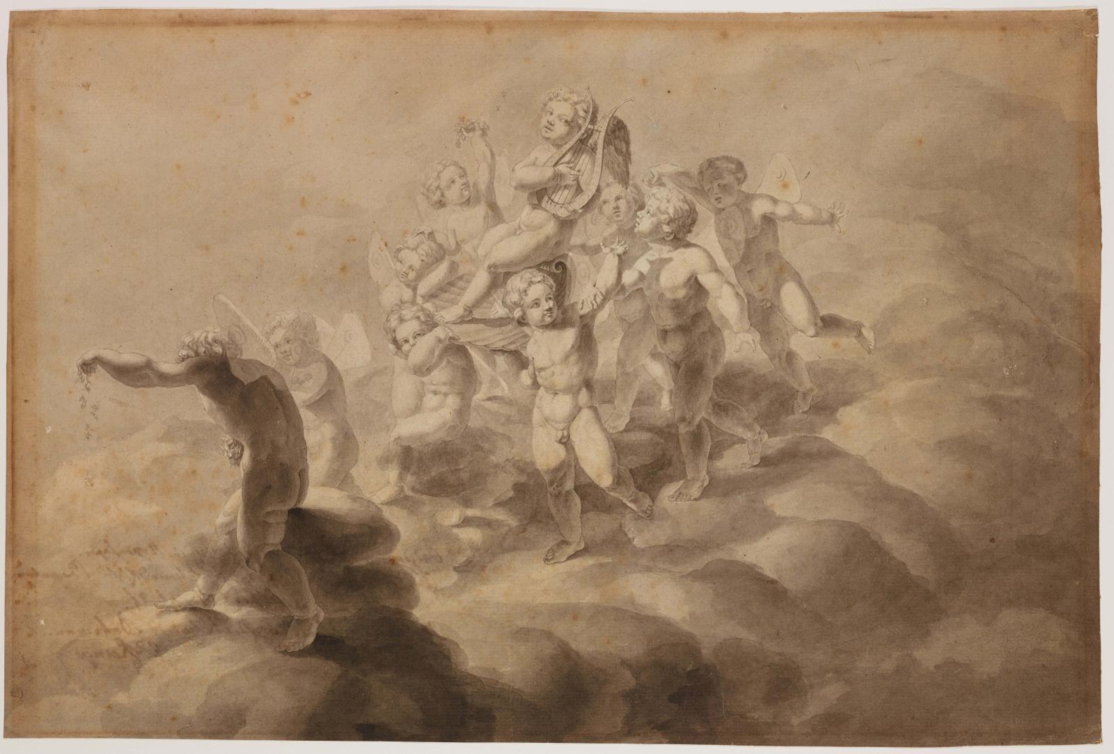 Philipp Otto Runge(1777-1810), LeTriomphe de l'Amour, 1800, plume, pinceau et encre grise (détail). ©Collection particulière ©Photo Johannes vonM