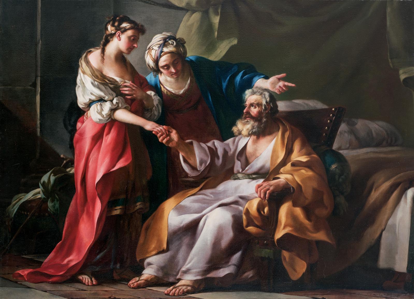Joseph-Marie Vien (1716-1809), Sarah présentant Agar à Abraham, 1749, huile sur toile, 98x134,5cm (détail). Œuvre acquise en vente publique par Mon
