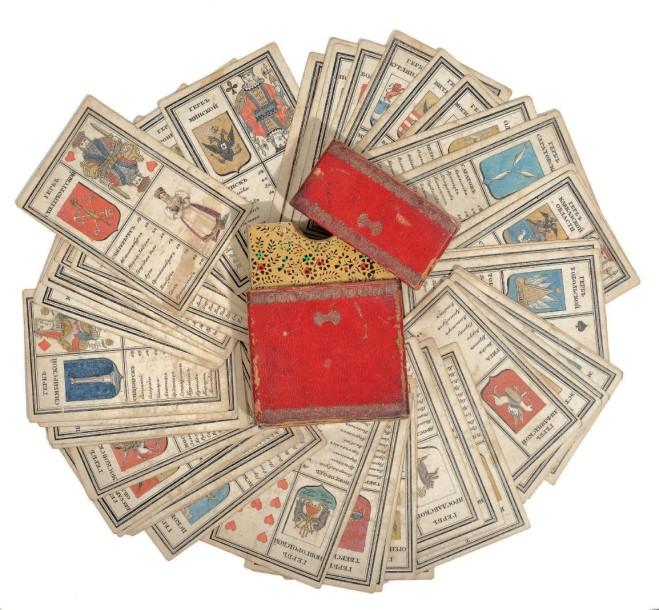 10250€Constantin Gribanov, jeu de cartes héraldique et topographique, 1827, Saint-Pétersbourg, Manufacture de cartes à jouer, 60cartes (9,5x6,3c