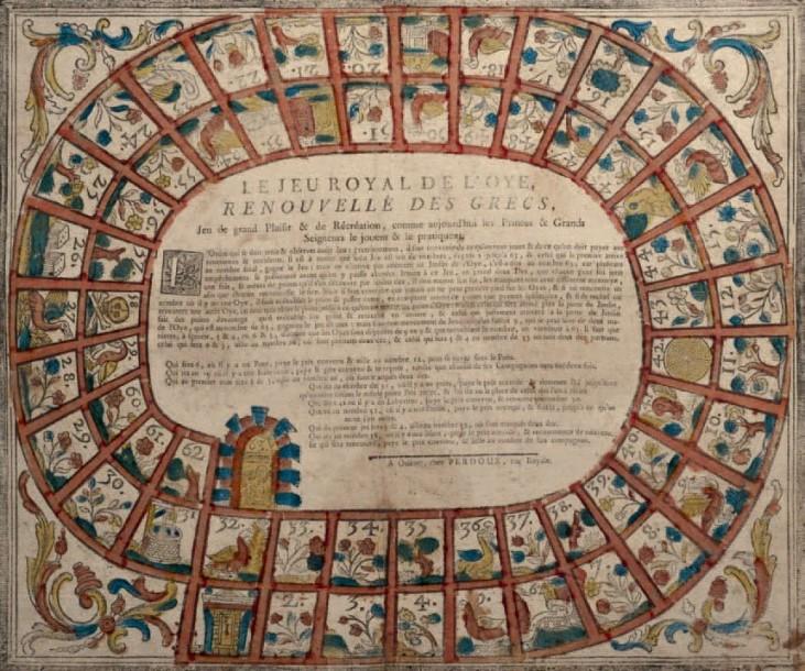 793€Le Jeu royal de l'oye renouvellé des Grecs, jeu de grand plaisir et de récréation…, Orléans, Perdoux, vers 1800, gravure sur bois imprimée sur ve