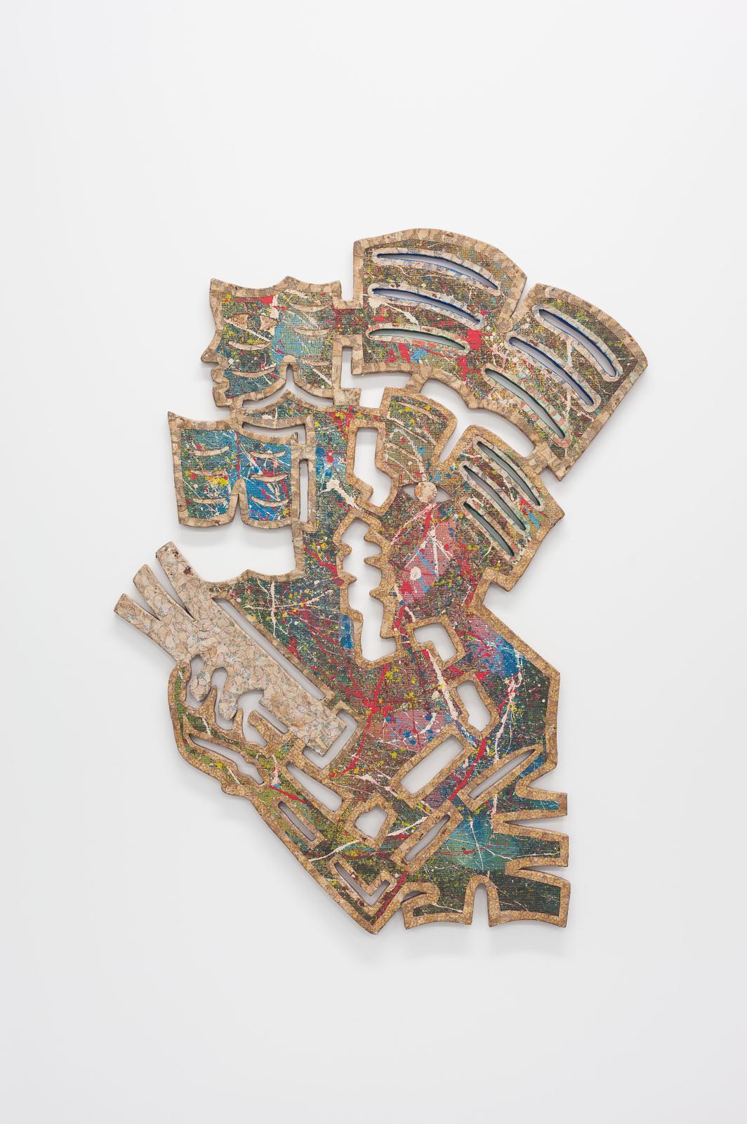 Meschac Gaba (né en 1961), La Peinture sculpture, Bibliothèque, 1993-1994, peinture, tissus, collage de confettis de billets de banque CFA sur bois, 9