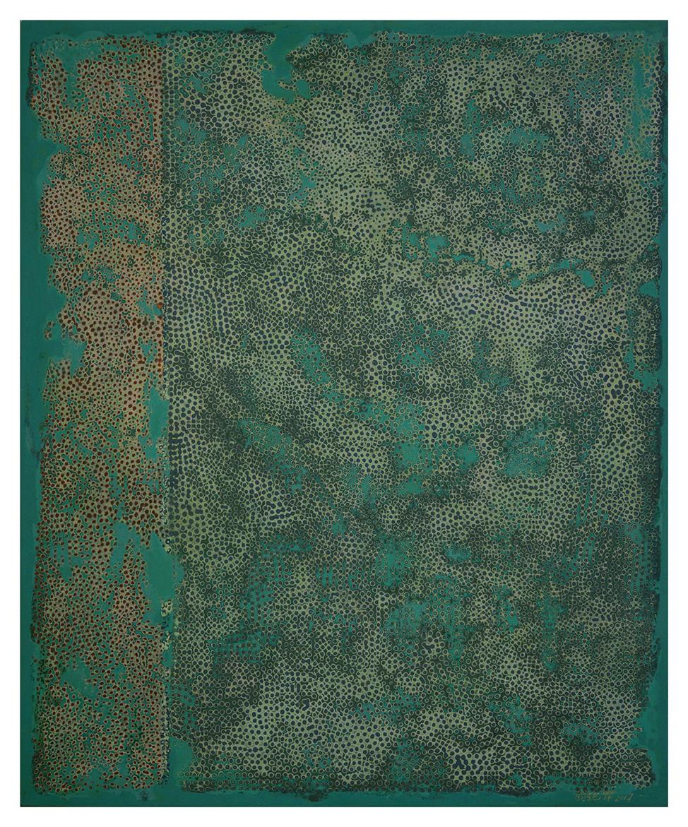 Weng Jijun(né en 1955), Cluster, 2016,laque de Chine sur panneau, toile de ramie, 60x50cm.