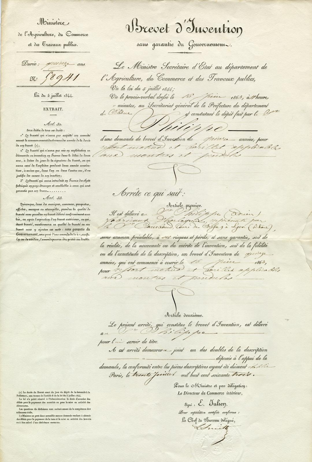 Jean Adrien Philippe invente un ressort-moteur dit «ressort libre» (brevet français no58941). © Patek Philippe