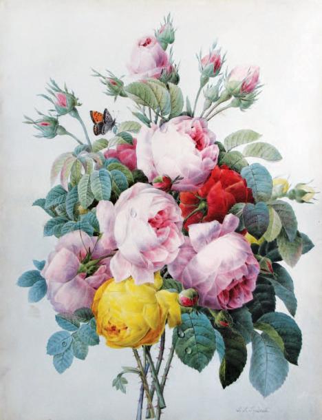 60000€Pierre-Joseph Redouté (1759-1840), Bouquet de roses au papillon, aquarelle sur traits à la pierre noire sur vélin, signée, 41x32,7cm.Le Hav