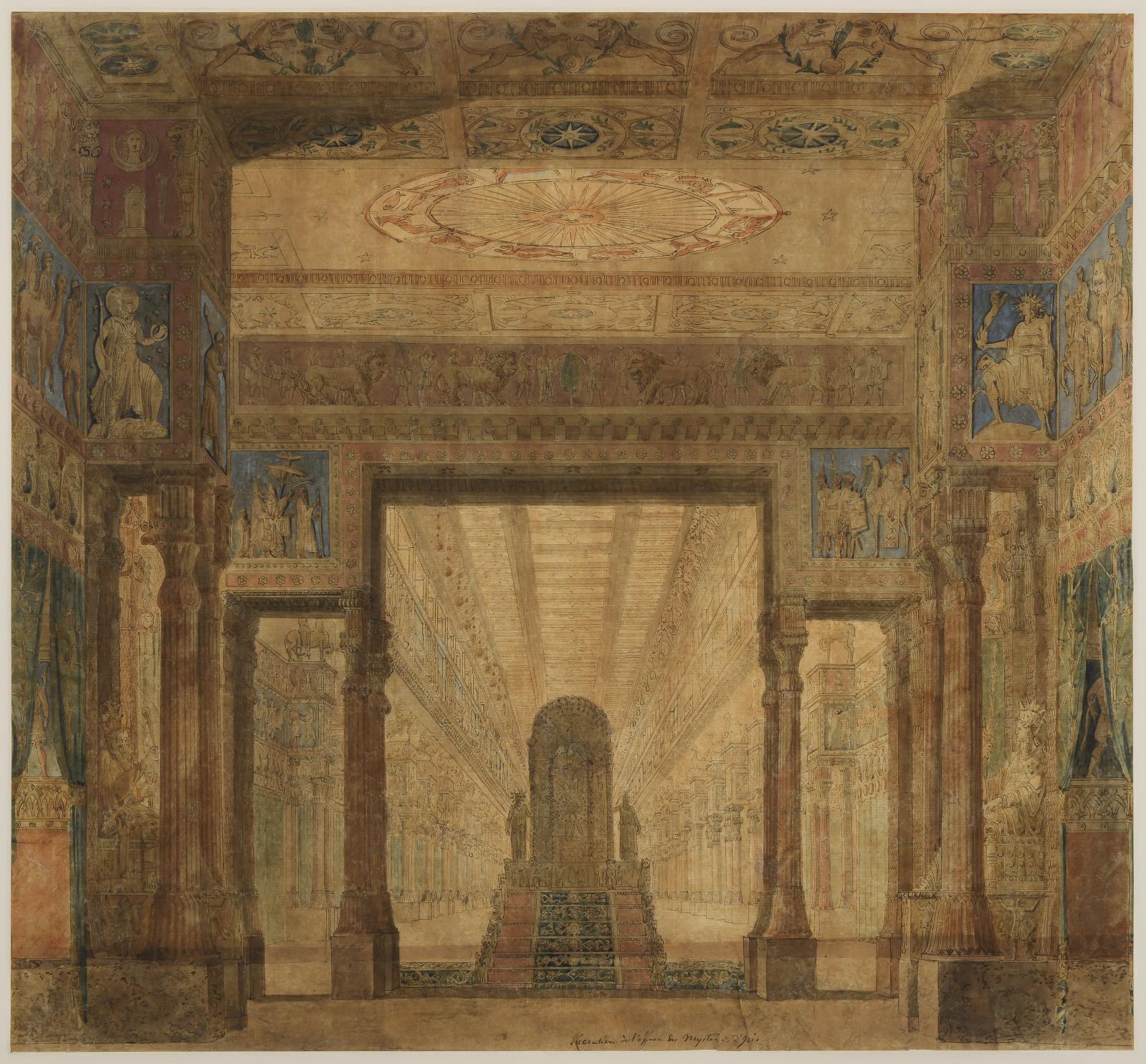 Charles Percier(1764-1838), projet de décor pour Les Mystères d'Isis, 1801.