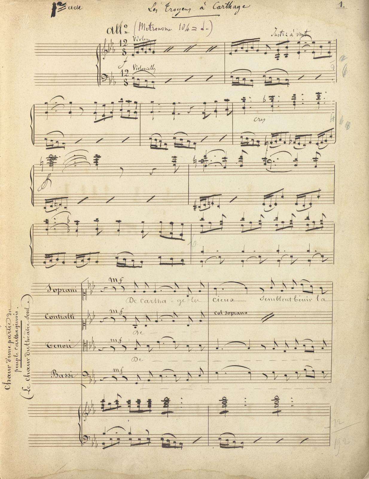 Hector Berlioz(1803-1869), Les Troyens, partition manuscrite en partie autographe, version pour chant et piano, 1858-1859.