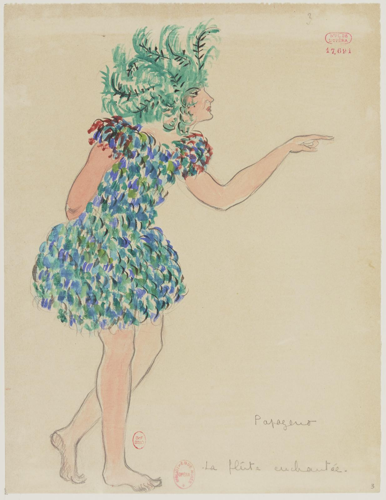 Jacques Drésa (1869-1929), maquette de costume pour Papageno dans La Flûte enchantée, 1922, dessin, BnF, département de la Musique, Bibliothèque-musée