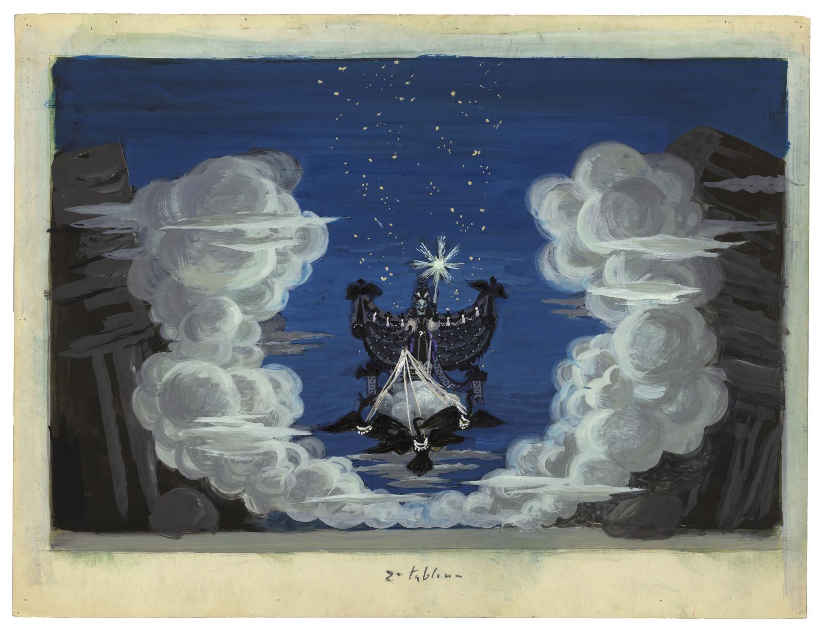 Roger Chapelain-Midy (1904-1992), projet de décor pour La Flûte enchantée, 1954,BnF, département de la Musique, Bibliothèque-musée de l'Opéra. ©Adagp