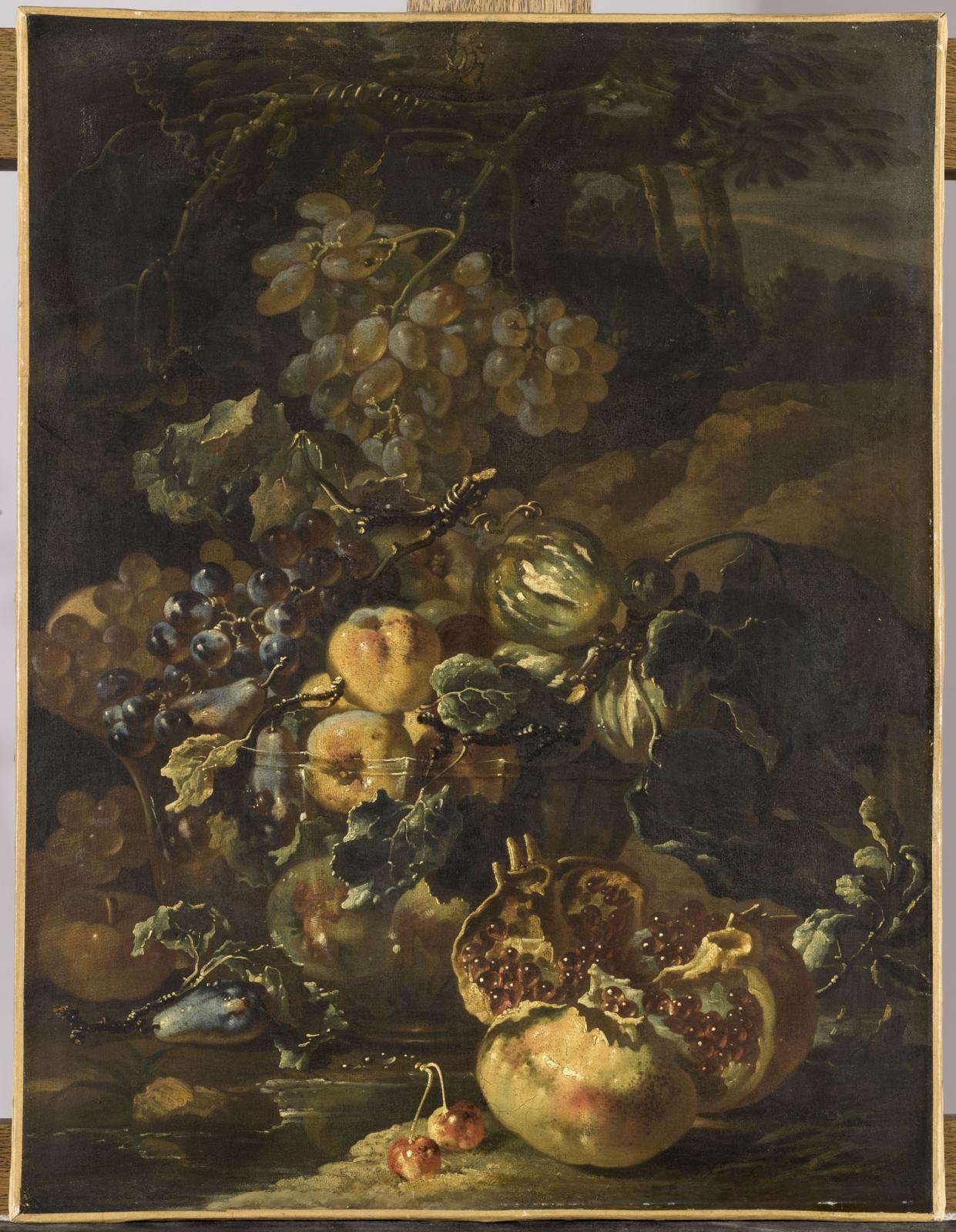 Giovanni Paolo Spadino, Nature morte à la grenade éclatée, vers 1690, Beauvais, - MUDO - musée départemental de l'Oise. ©RMN-Grand Palais (MUDO - mu