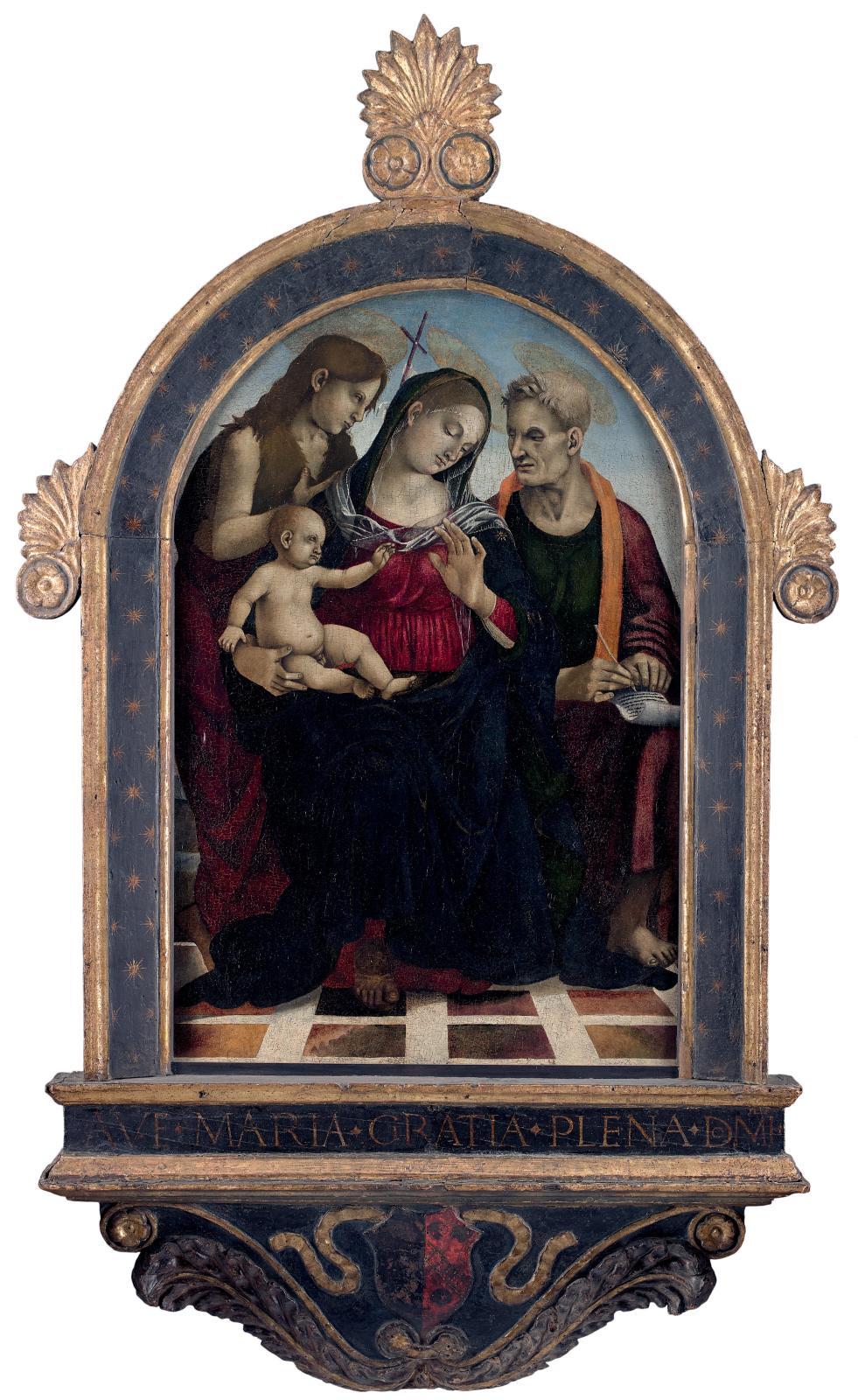 Luca Signorelli, Vierge et l'Enfant avec saint Jean-Baptiste et saint Jean l'Évangéliste, vers 1490,huile sur bois, 83,5x54,5cm, Fontaine-Chaalis,