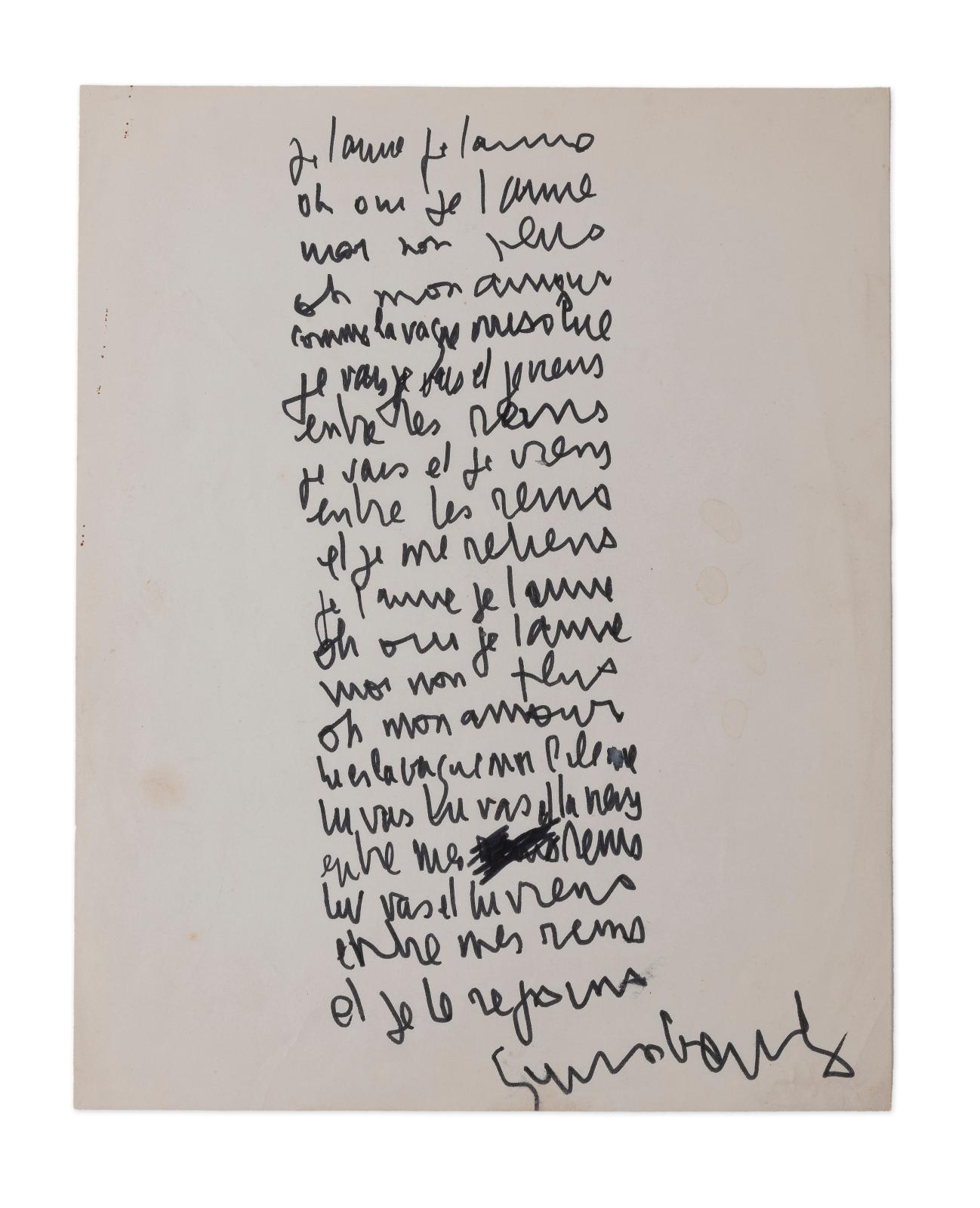 Serge Gainsbourg (1928-1991), Je t'aime moi non plus, manuscrit autographe signé [1967], une page in-4° à l'encre. Vente n° 12, vendredi 16 novembre E