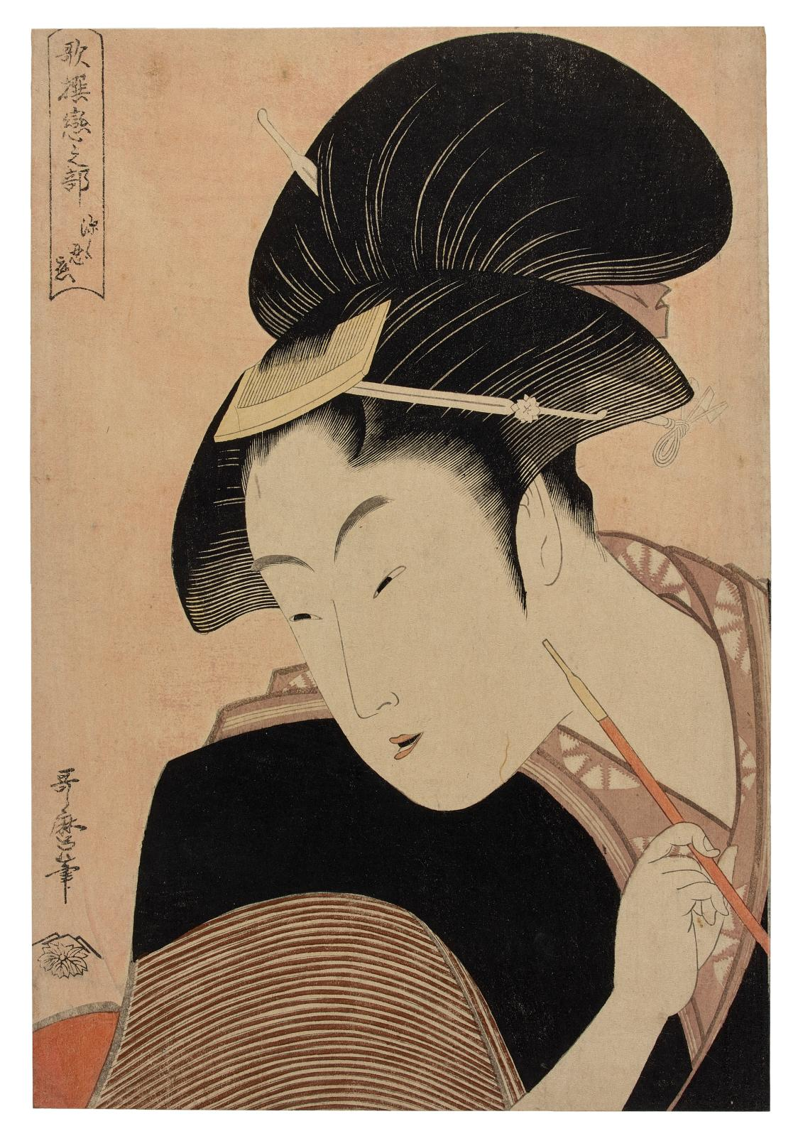 Kitagawa Utamaro (1753?-1806), Hidden Love (Fukaku shinobu koi) from the series Poetry Anthology: Love Section (Kasen koi no bu), print on micaceous b