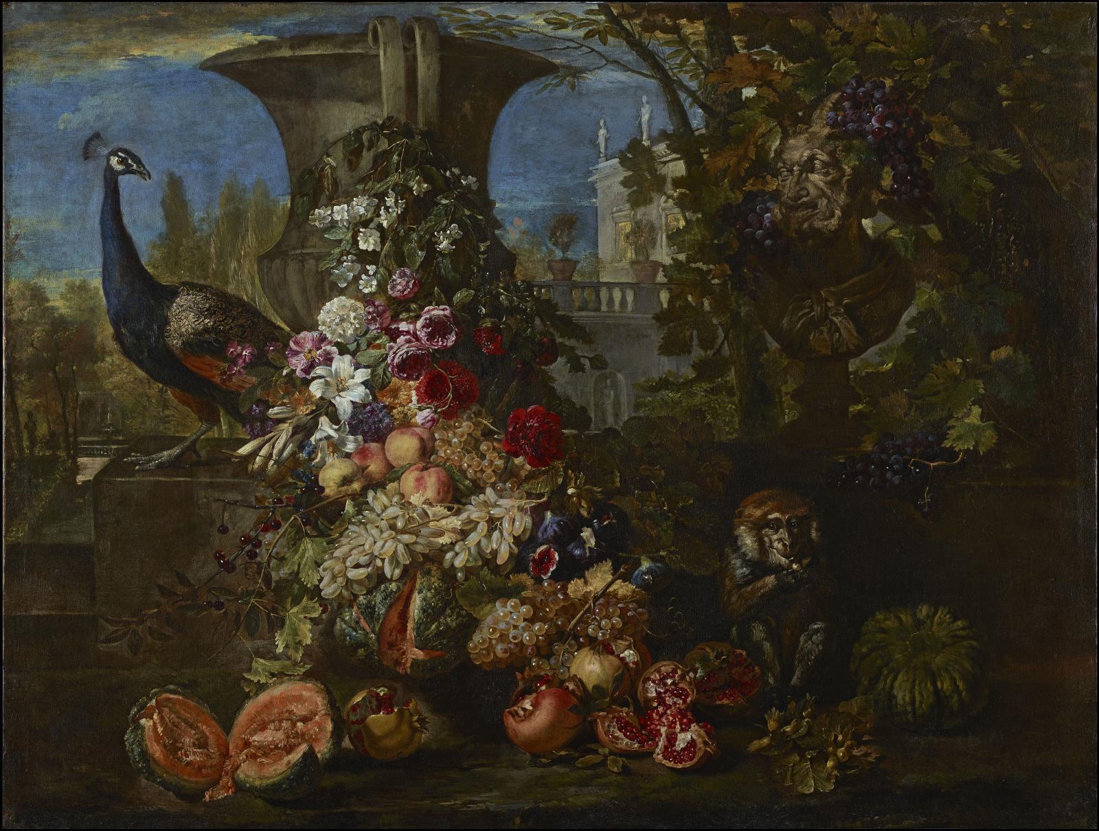 David de Coninck (vers 1644-1701?), Nature morte de fruits et de fleurs dans le jardin d'une villa, avec un paon et un singe, huile sur toile, 143x