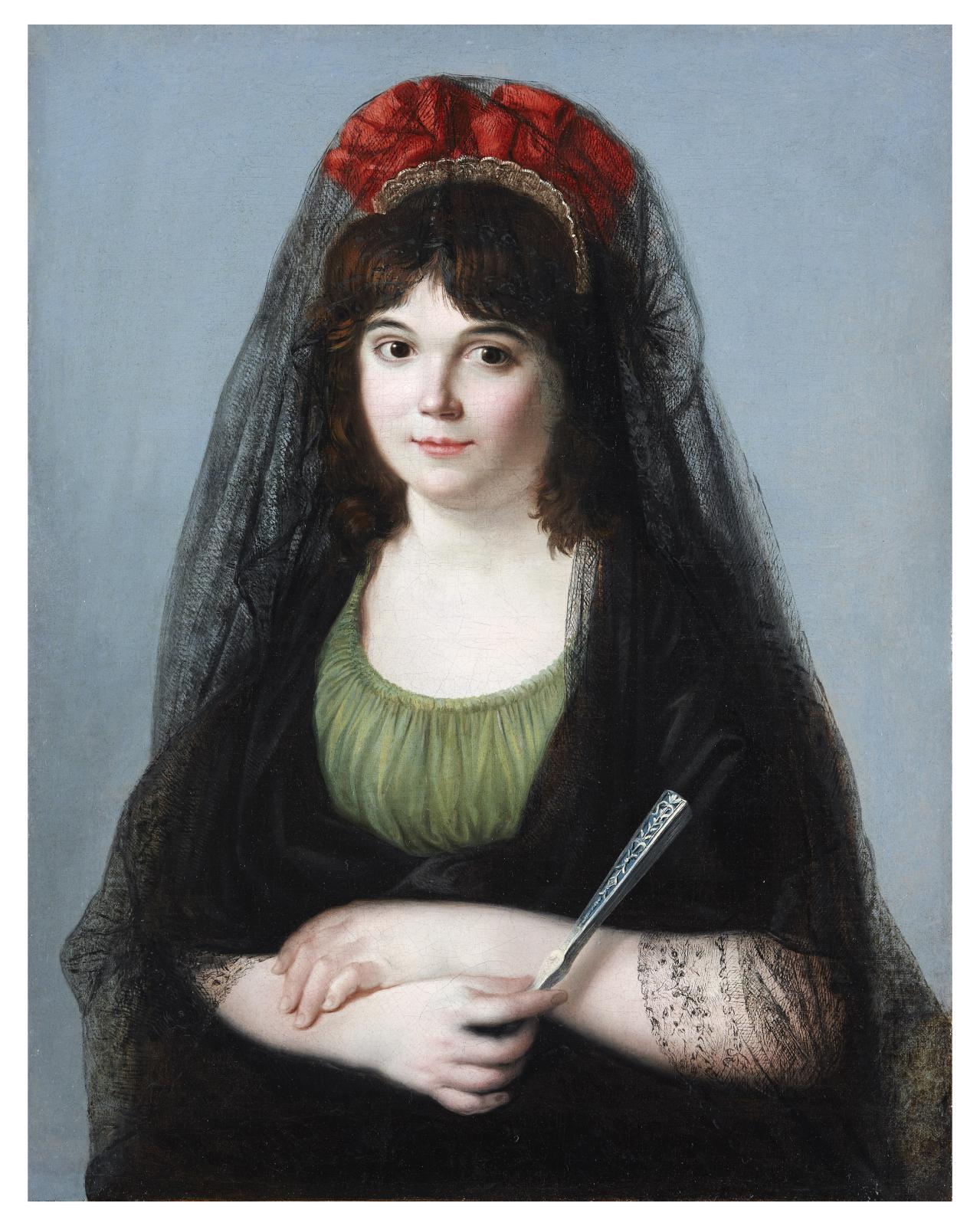Zacarias González Velázquez (1763-1834), Portrait de jeune femme à l'éventail et mantille, huile sur toile, 71,4x56cm. © Joaquin Cortes