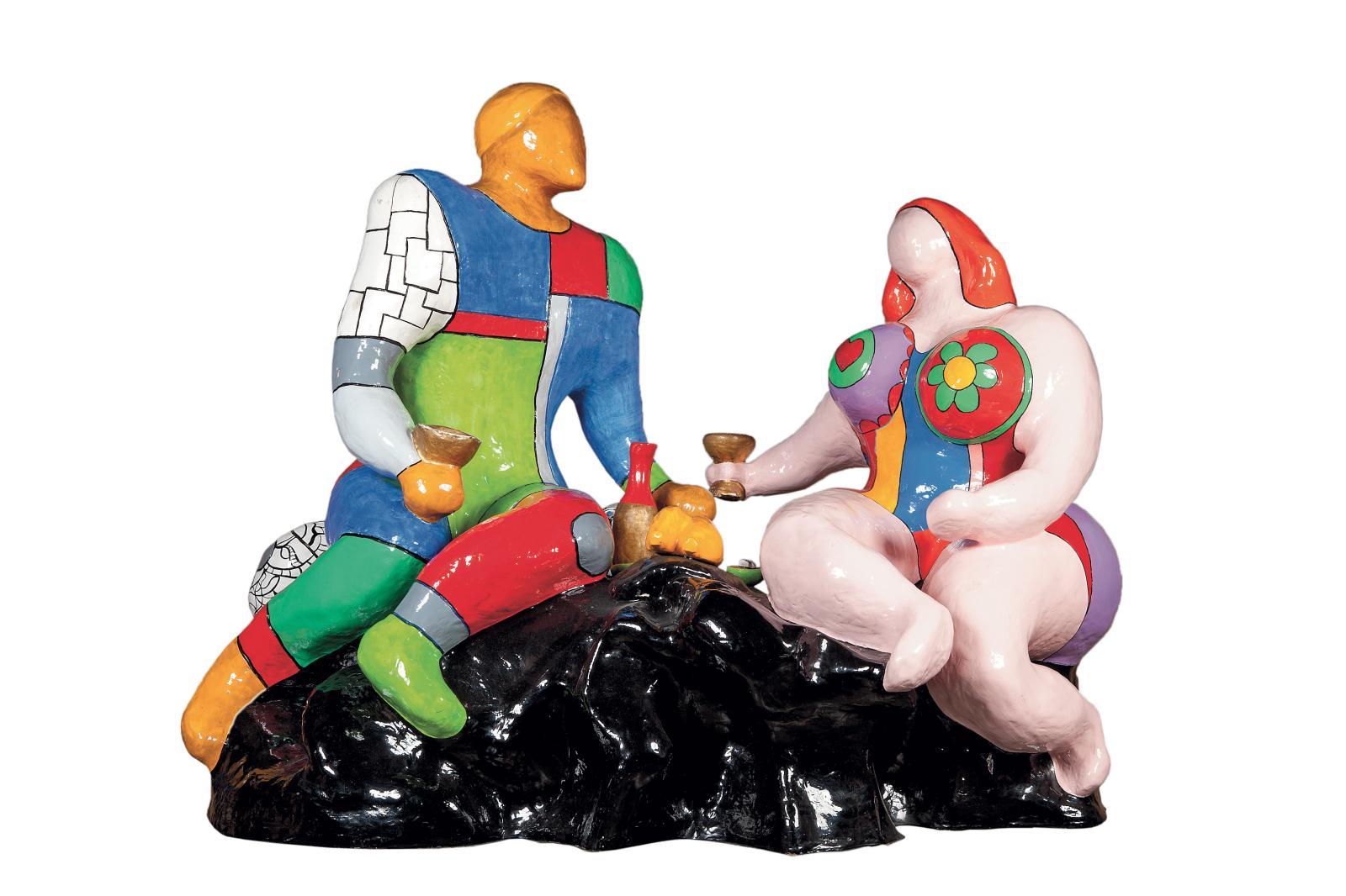 Niki de Saint Phalle (1930-1922), Adam et Ève, sculpture en résine polyester polychrome, cachet de la signature, marque de R. Haligon et numéroté 1/3.