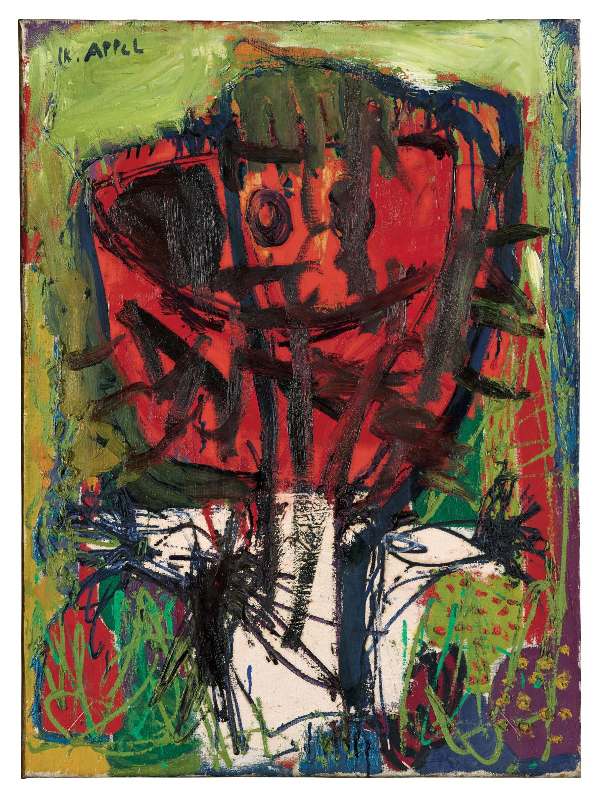 … Effroi dans l'herbe, 1947, huile sur toile, 95 x 70 cm, MAMVP. © KAREL APPEL FOUNDATION/ ADAGP, PARIS 2017