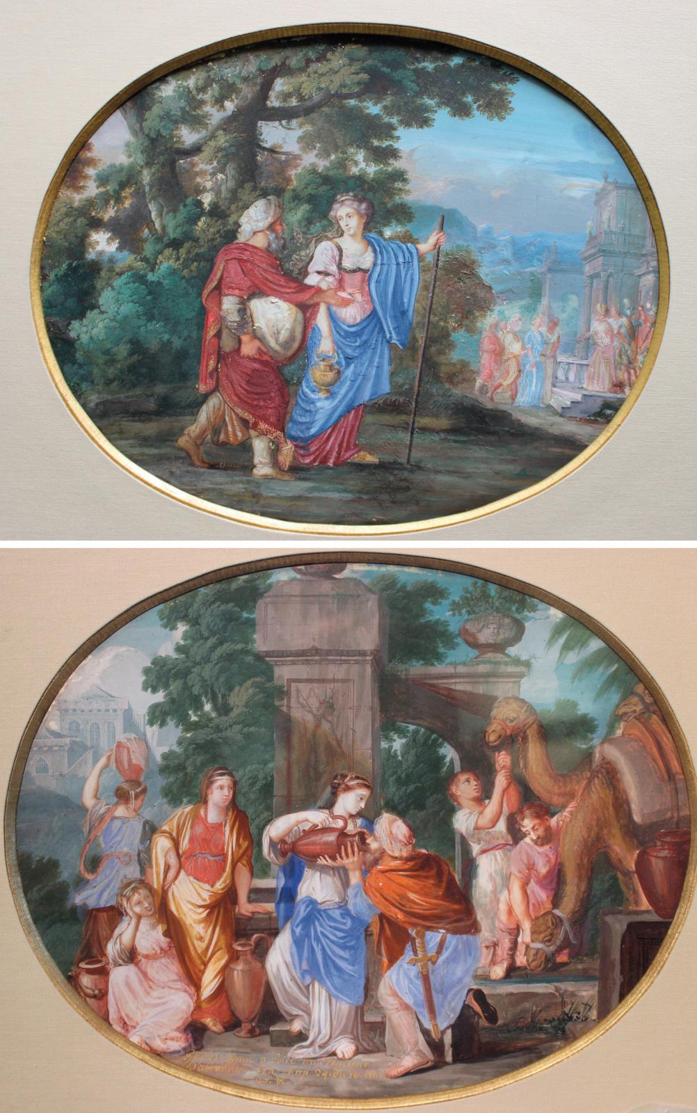 Jean Joubert (active ca. 1643-1707), Abraham and Sarah Going to Egypt and Rebecca and Giving Abraham's Servant a Drink, two oval gouaches on vellum st