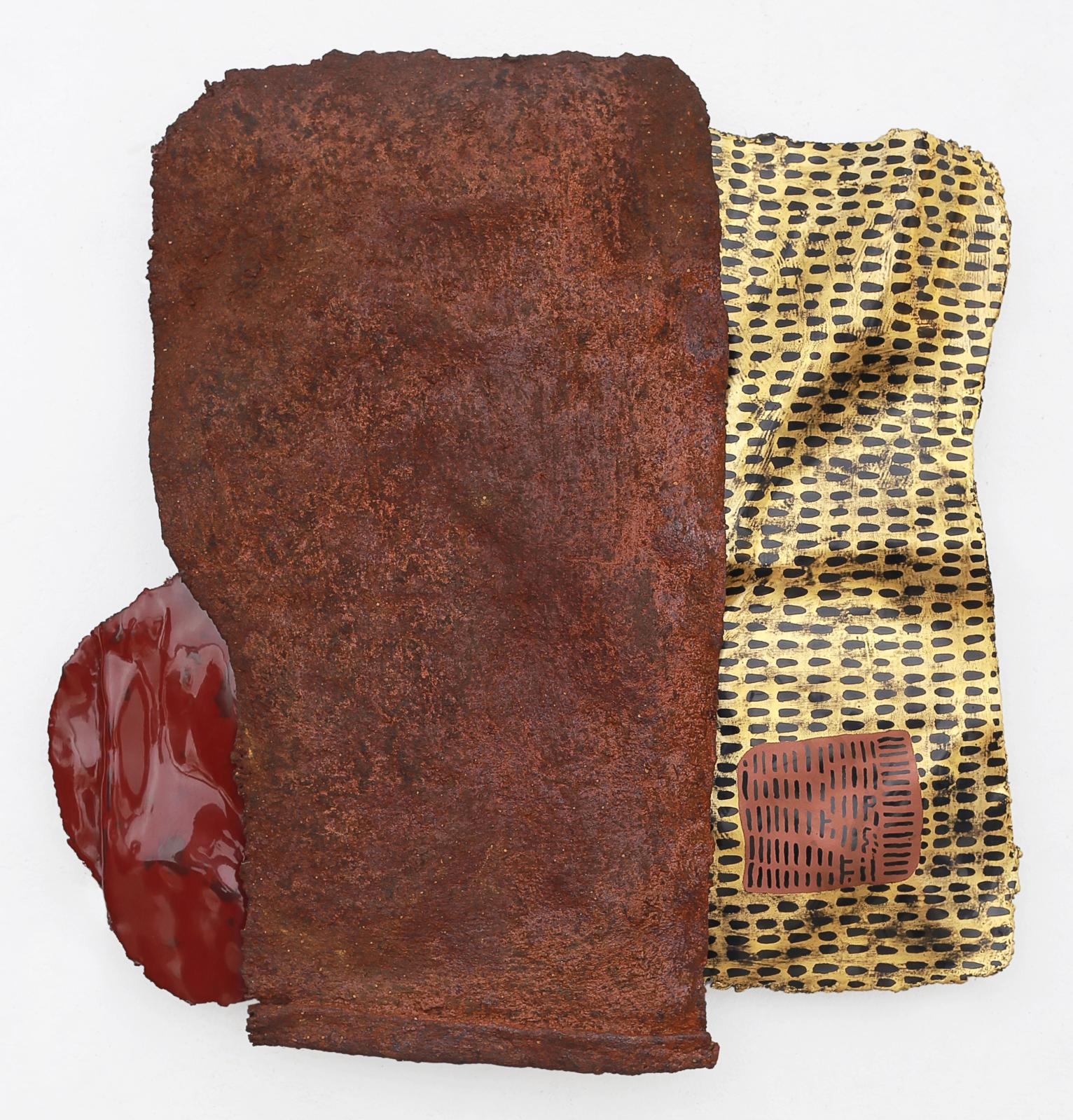 Wensen Qi (b. 1977), Untitled, 2018, Chinese lacquer on old rice bag in hessian, grasscloth, powered rusted iron, gold leaf, bronze powder, 42 x 40 cm