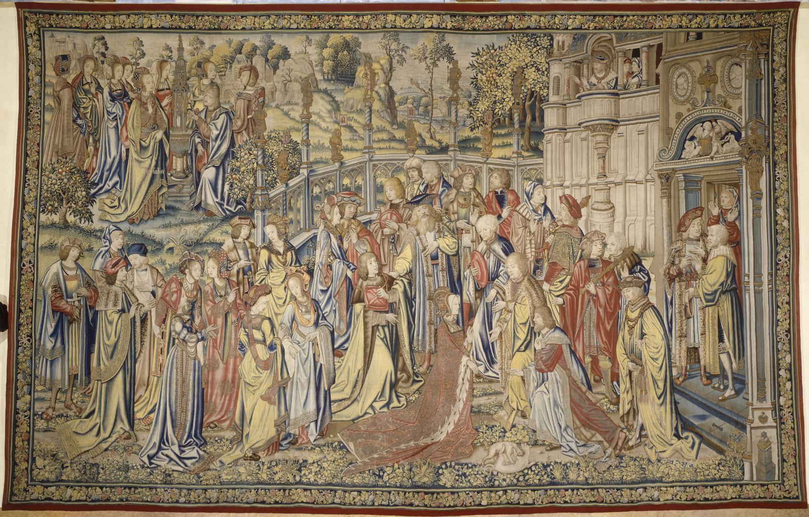 Peter VanAelst (1502-1550), d'après Jan VanRoome (1498-1521), Tenture de David et Bethsabée, David fait chercher Bethsabée à la fontaine et est reçu