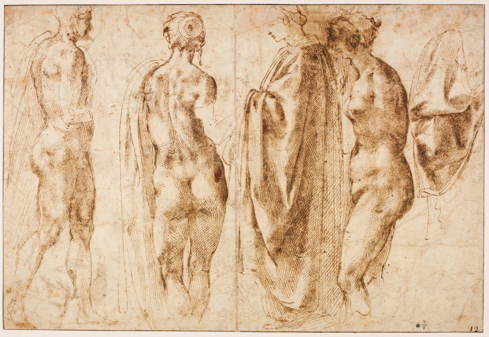 Michelangelo Buonarroti, dit Michel-Ange (1475-1564), Groupe de quatre figures debout et un drapé, plume, encre brune et grise, Chantilly, musée Condé