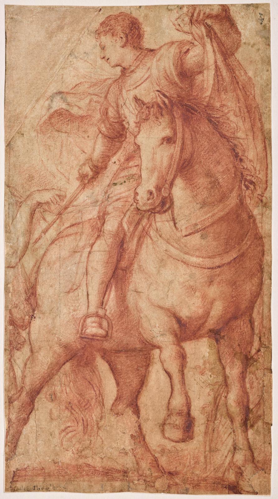 Il Pordenone (1483/1484-1539) Saint Martin à cheval partageant son manteau, vers 1528, sanguine, traces de mise à carreau à la pierre noire, Chantilly