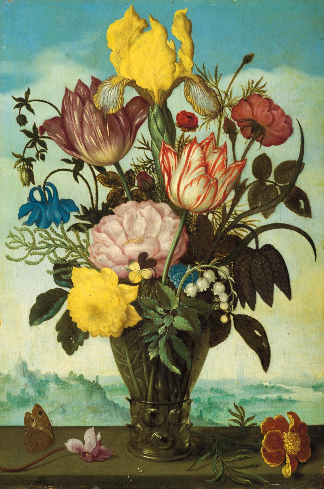 Ambrosius Bosschaert le Vieux (1573-1621), Fleurs coupées dans un römer posé sur un entablement sur fond de paysage (détail), huile sur panneau, 29,2