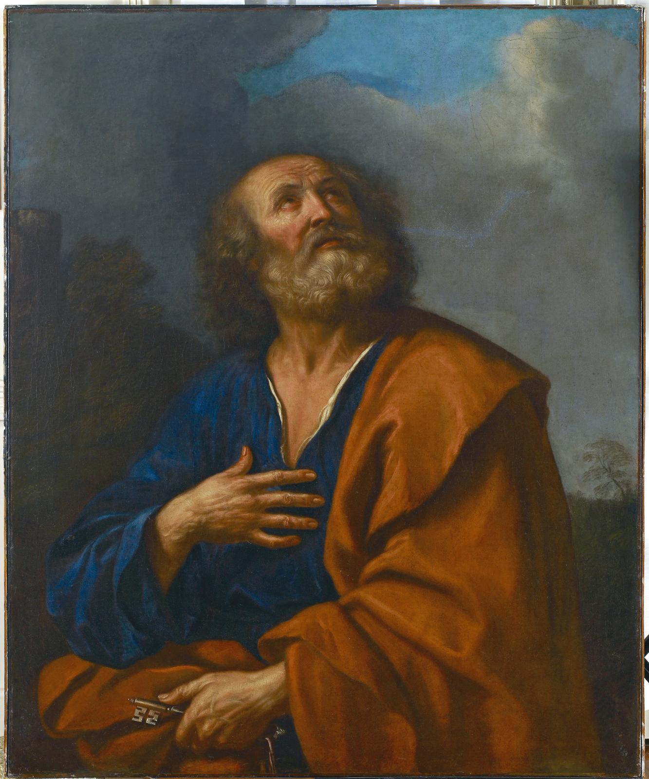 Giovanni Francesco Barbieri, dit Le Guerchin (1591-1666), Saint Pierre apôtre, huile sur toile, 113 x 92,5 cm Collection Motais de Narbonne.