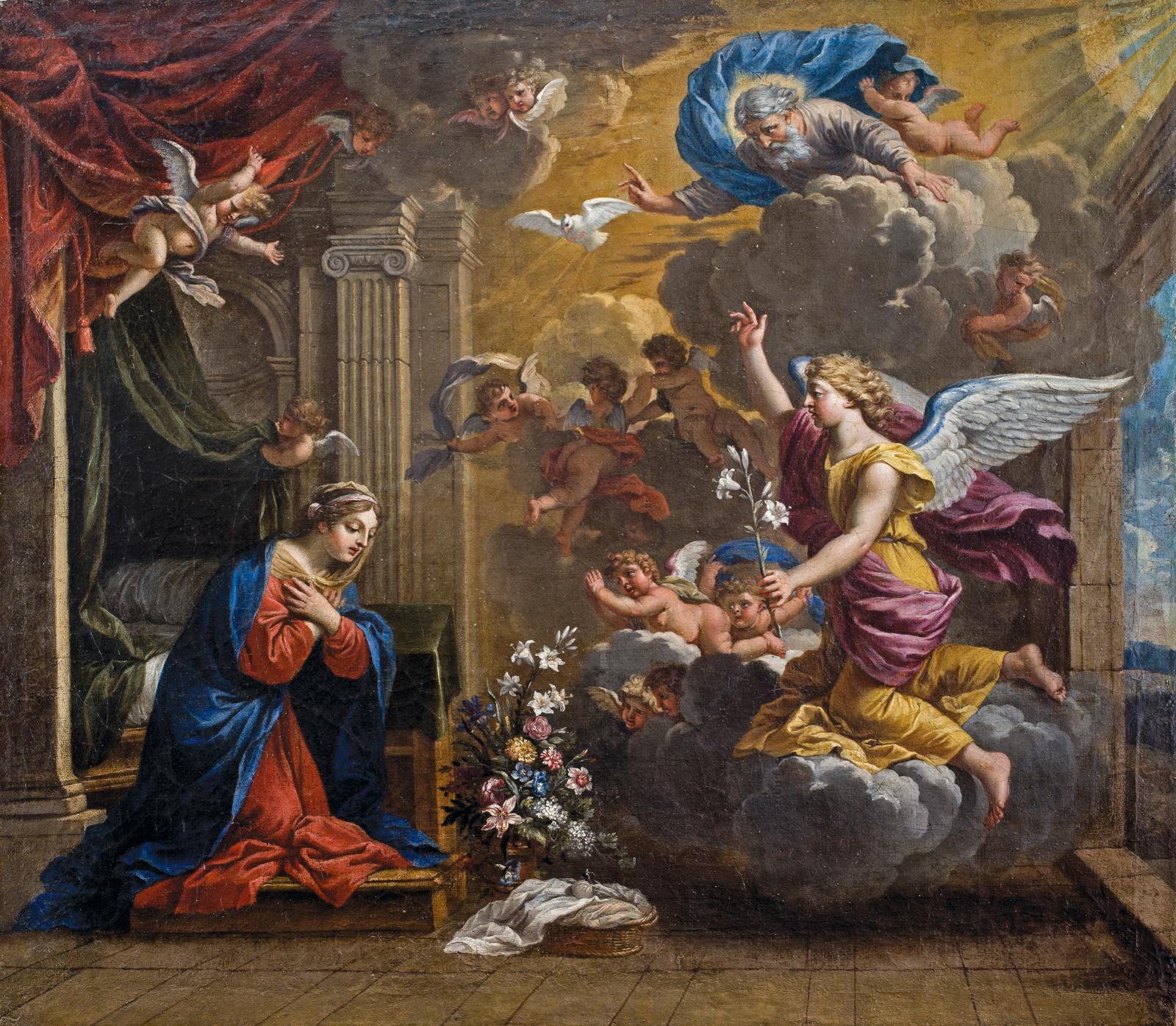 Charles Poërson (1609-1667), L'Annonciation, huile sur toile, 64,8 x 57,2 cm. Collection Motais de Narbonne.