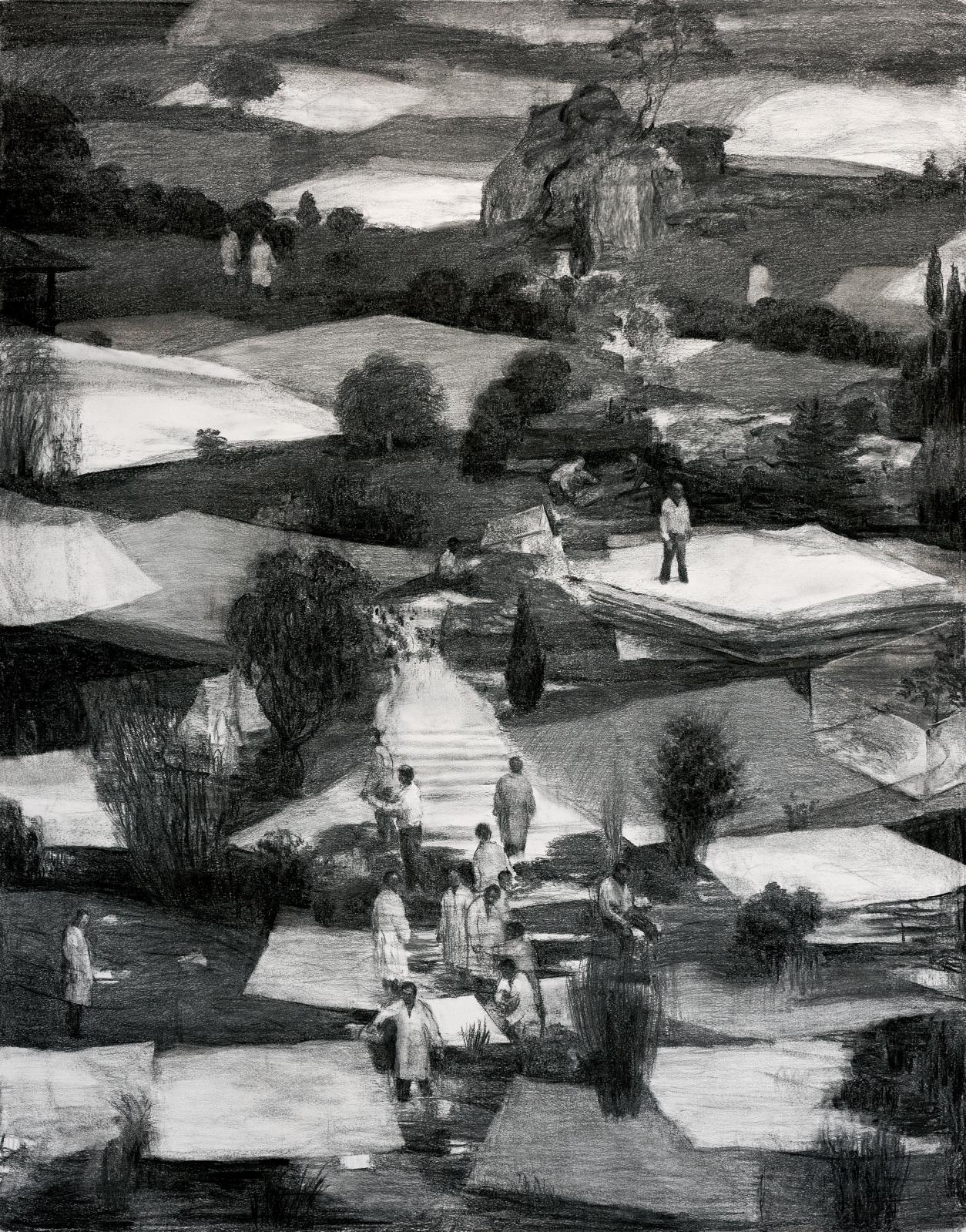 Peter Martensen (né en 1953), The Unwanted II, 2017, fusain sur papier, 125x98cm. COURTESY PETER MARTENSEN & GALERIE MARIA LUND.PHOTO HENRIK PETIT