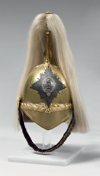 1982€Casque d'officier du 6erégiment de dragons de la Garde, modèle 1871, Grande-Bretagne, début XXesiècle, laiton doré et argenté, haarbusch en c