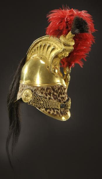 4250€Casque d'officier de dragons «à la Minerve», modèle 1845, France, époque Louis-Philippe, laiton doré, panthère, crinière en crin noir, plumet,