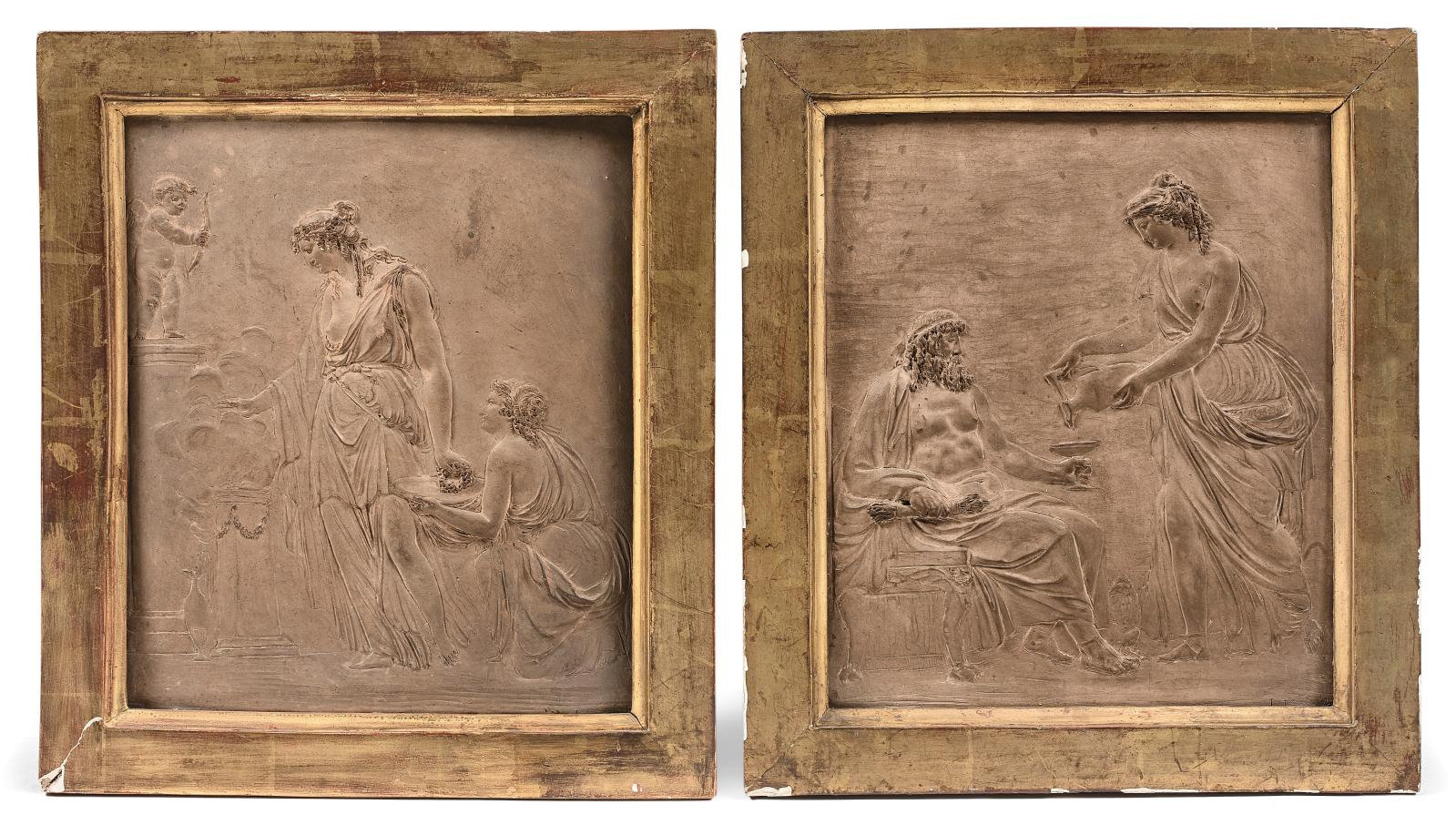 Jean-François Lorta (1752-1837), Offrande à l'Amour (Love Offering) and Offrande à Bacchus (Offering to Bacchus), pair of terra cotta bas-reliefs, 179