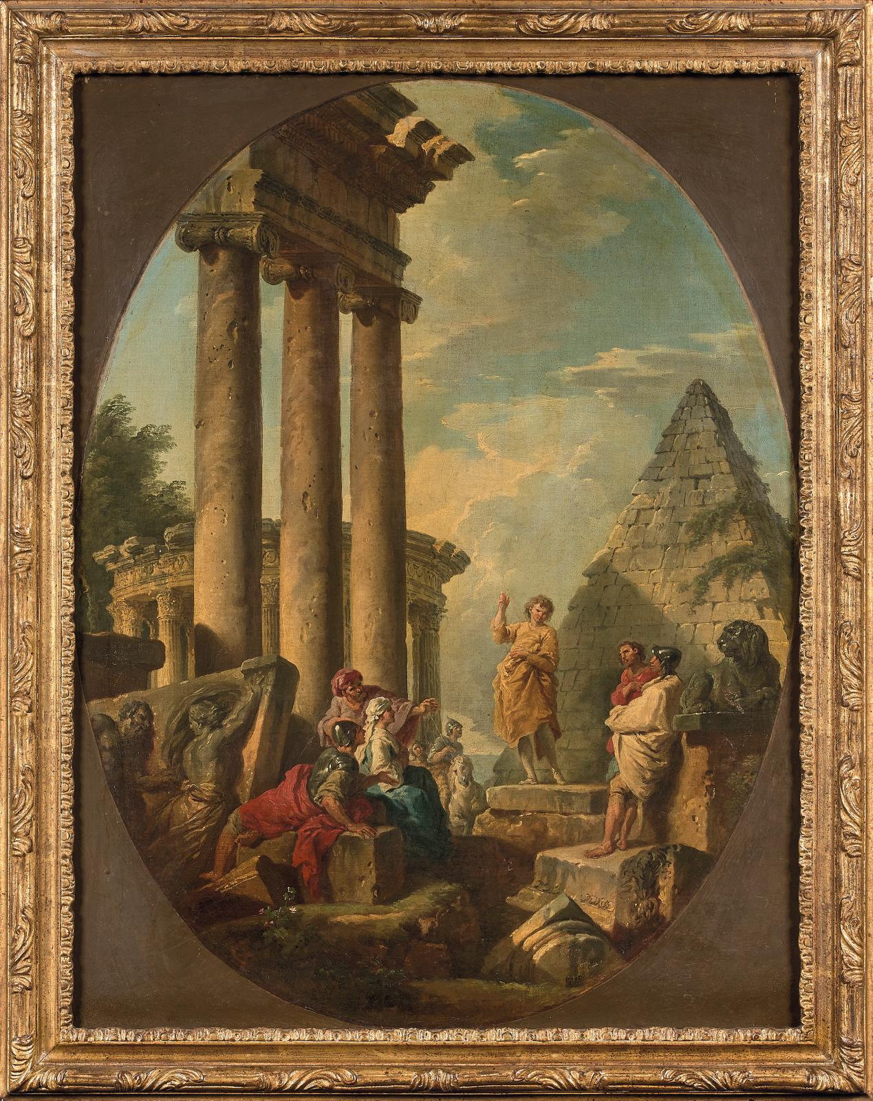 Giovanni Paolo Panini (1691-1765), Apôtre en robe jaune devant une pyramide (Apostle in a Yellow Robe in Front of a Pyramid), oval canvas placed in a