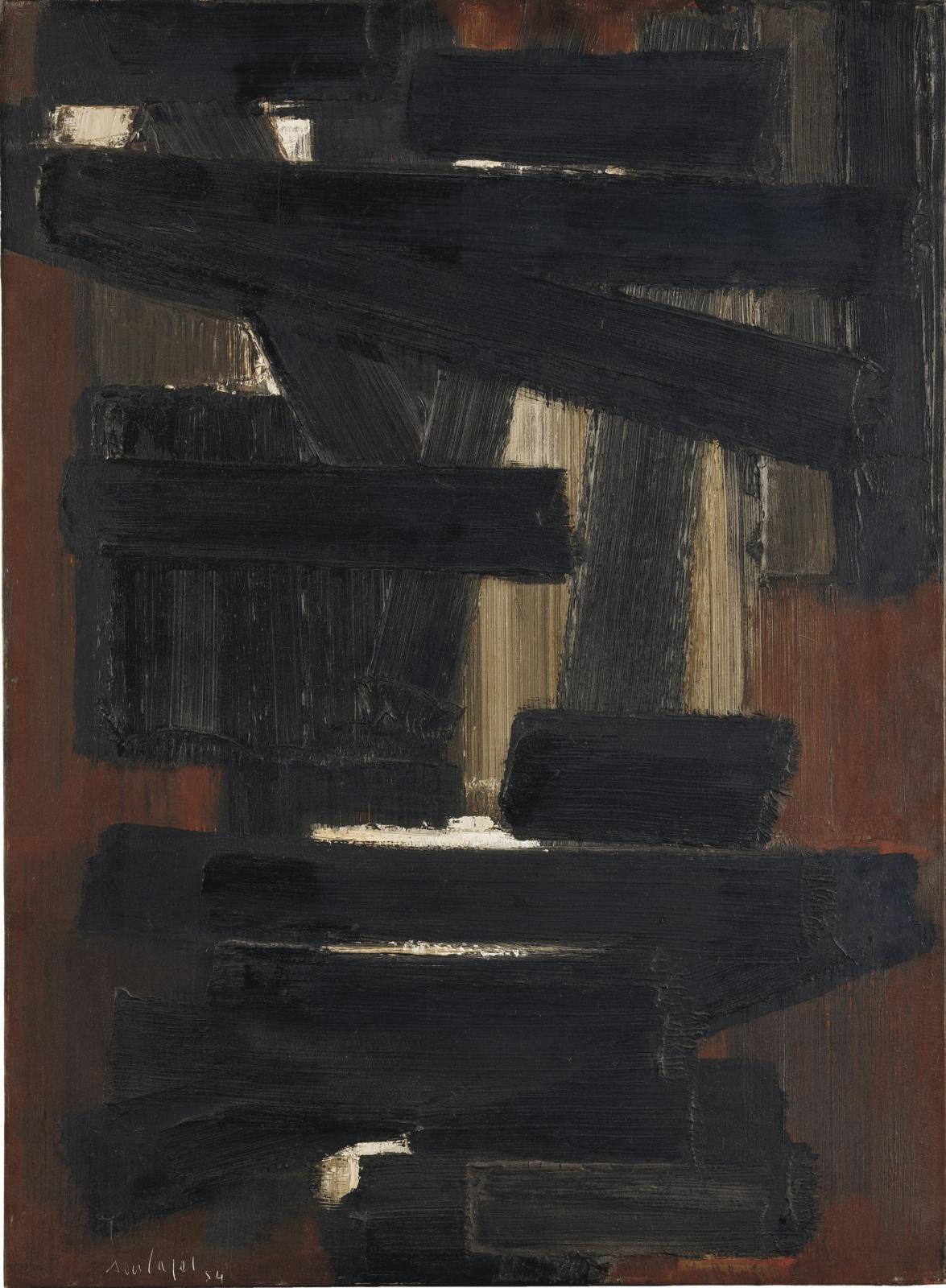 Pierre Soulages (né en 1919), Peinture 73x54cm, 28mai 1954, huile sur toile, 73x54cm. Galerie Brame & Lorenceau, Paris. Courtesy Galerie Brame