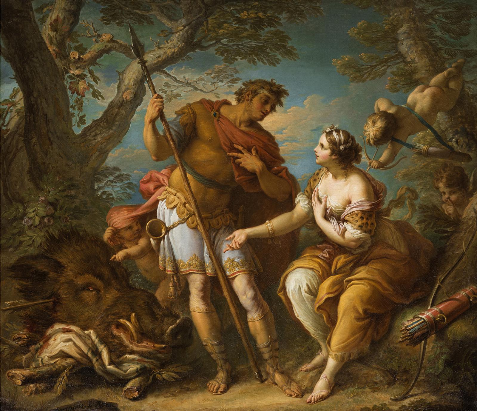 Jacques Dumont (1701-1781), Atalante et Méléagre, 1751, huile sur toile, 126x145cm. Galerie F. Baulme Fine Arts, Paris.