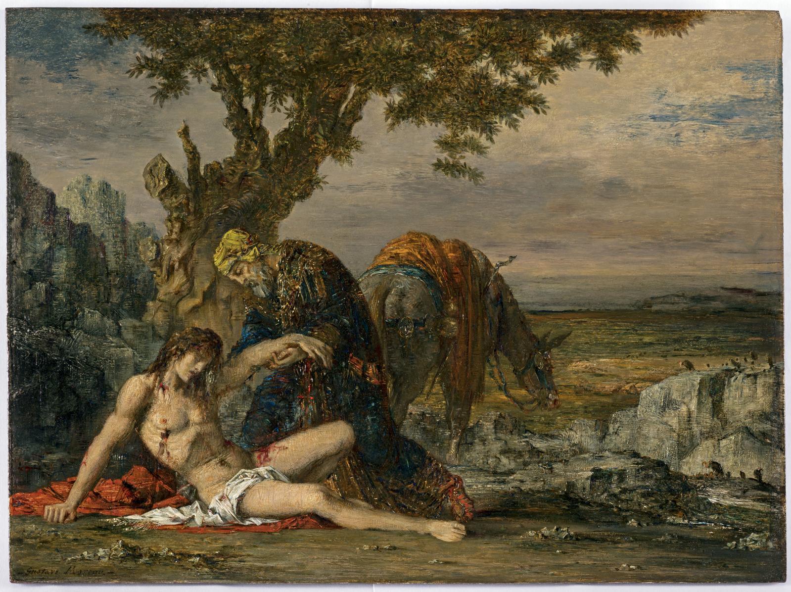 Gustave Moreau (1826-1898), Le Bon Samaritain, vers 1870, huile sur panneau, 28,2x38,2cm (détail). Courtesy Galerie Michel Descours