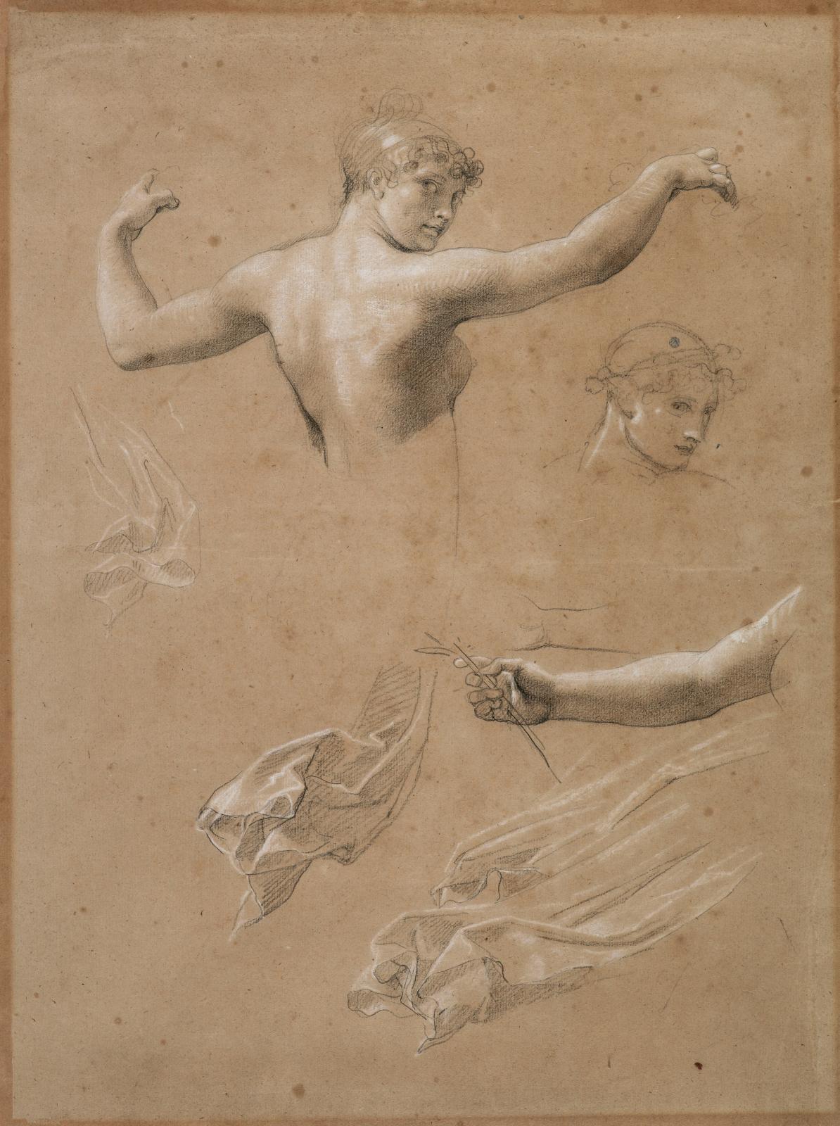 Jean-Baptiste, baron Régnault (1754-1829), Étude pour La Marche triomphale de Napoléon vers le temple de l'Immortalité, vers1804, pierre noire et reh