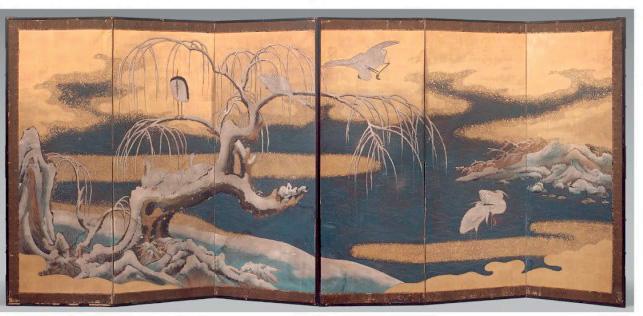 6886€Japon, XVIIIesiècle, paire de paravents à six feuilles, hérons dans un paysage de neige, hérons et saules pleureurs, h.: 172cm, l. d'une feu