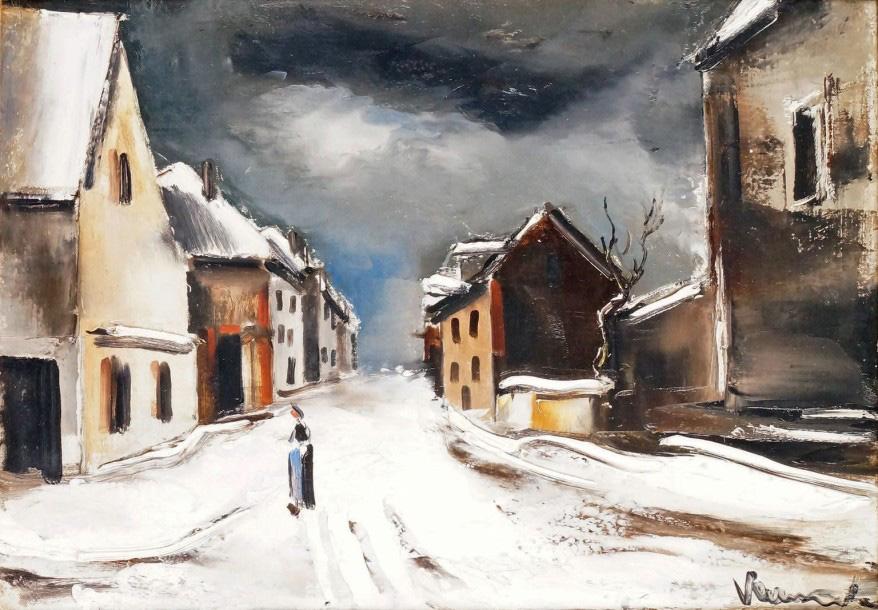 54735€Maurice de Vlaminck (1876-1958), Rue de village sous la neige, huile sur toile signée, 39x55cm.Versailles, 15mars2015. Éric Pillon Enchèr