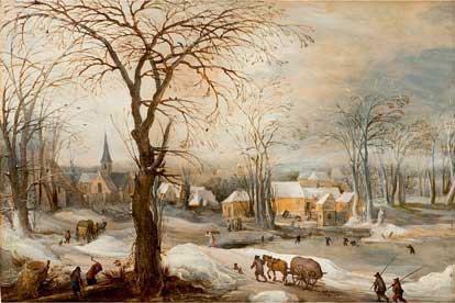 208186€Frans de Momper (1603-1660), Paysage de neige animé, panneau de chêne, deux planches, non parqueté, 50x74cm.Drouot, 15novembre2013. Pias