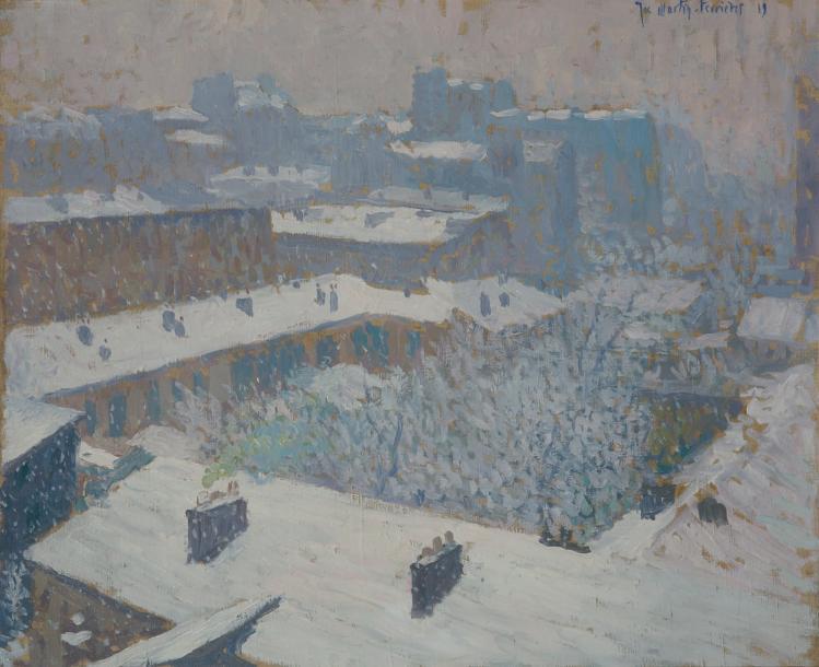 7615€Jacques Martin-Ferrières (1893-1972), Paysage de neige vu de l'atelier d'Henri Martin, huile sur toile signée datée19, 50x61cm.Drouot, 28j