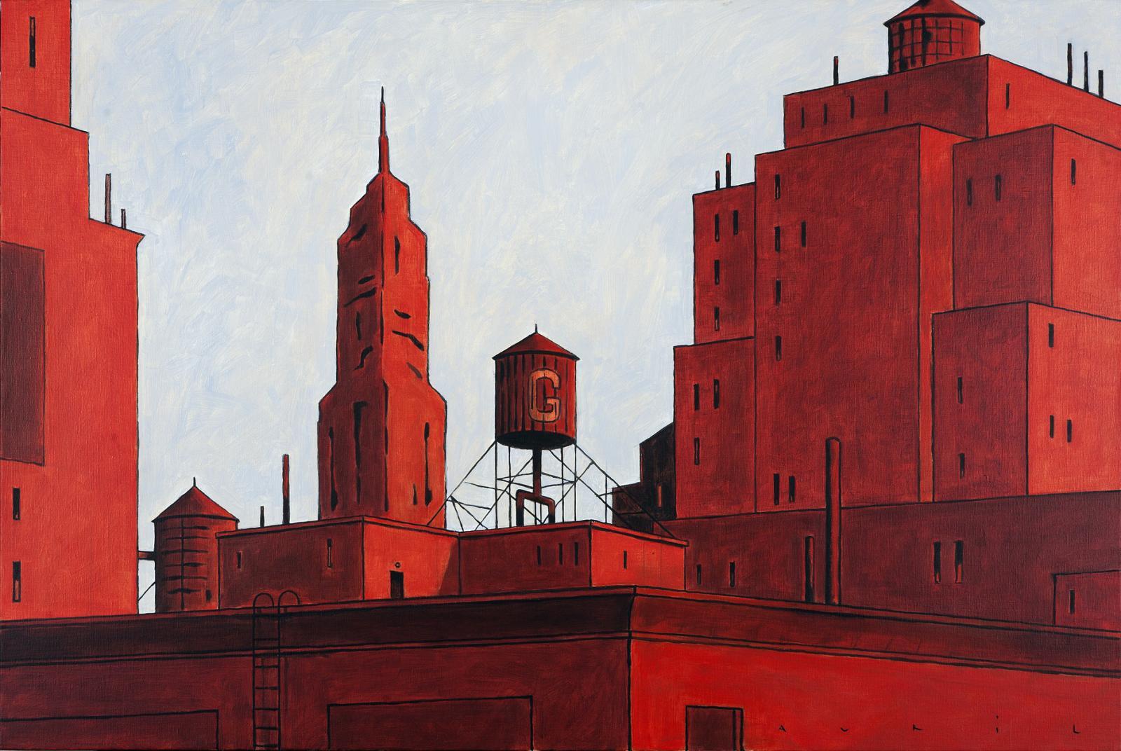François Avril, New York rouge, 2011, acrylique sur toile, 97 x 146 cm. © françois avril courtesy huberty-breyne gallery