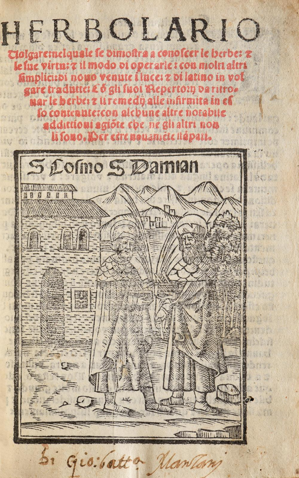 Herbolario volgare (1539), un volume petit in-8°, pleine reliure ancienne en veau havane, 151 figures. Estimation: 3000/4000€