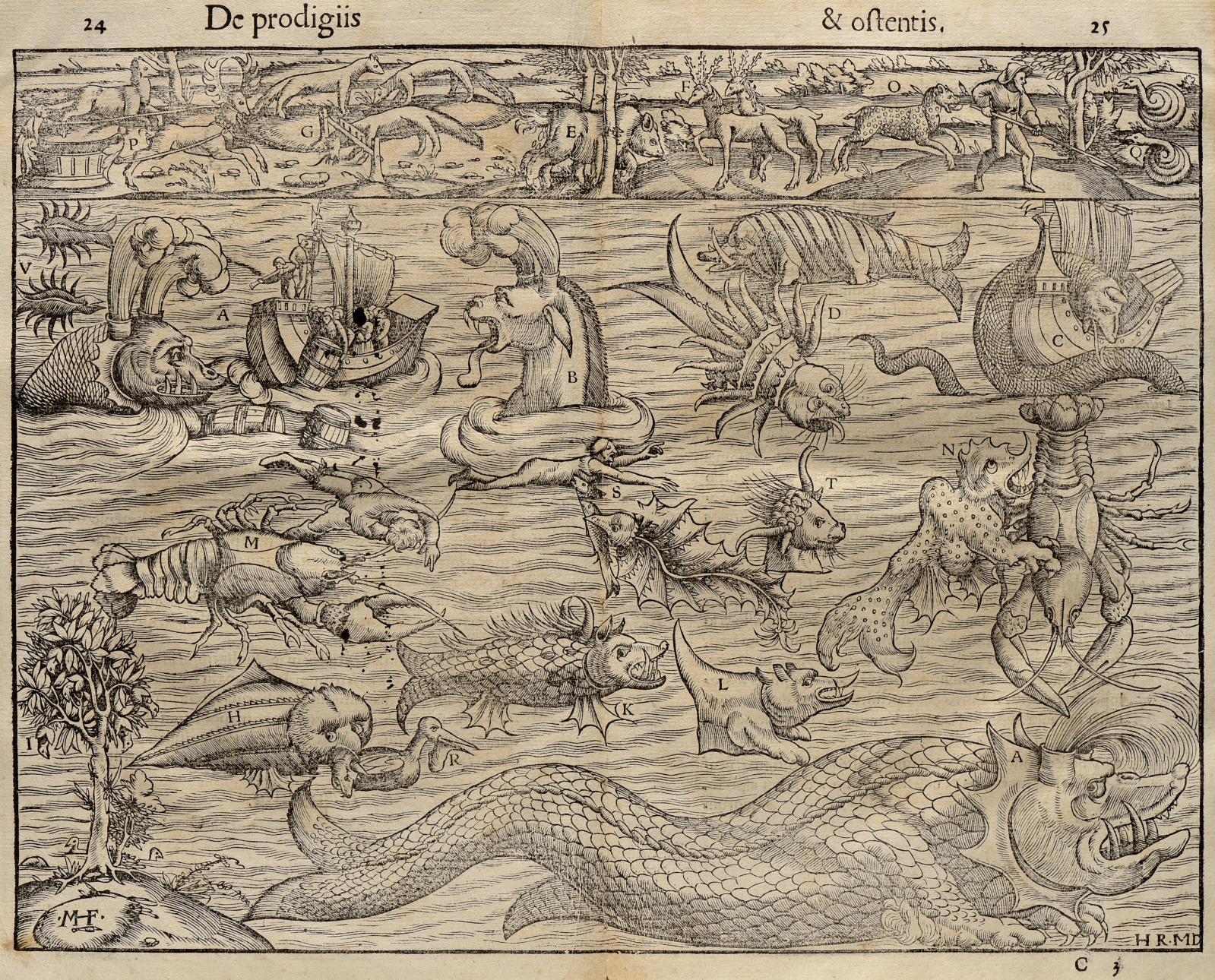 Conrad Wolffart, dit Lycosthenes, Prodigiorum ac ostentorum chronicon (Bâle, 1557), un volume in-folio illustré de près de 1600 gravures fantastiques