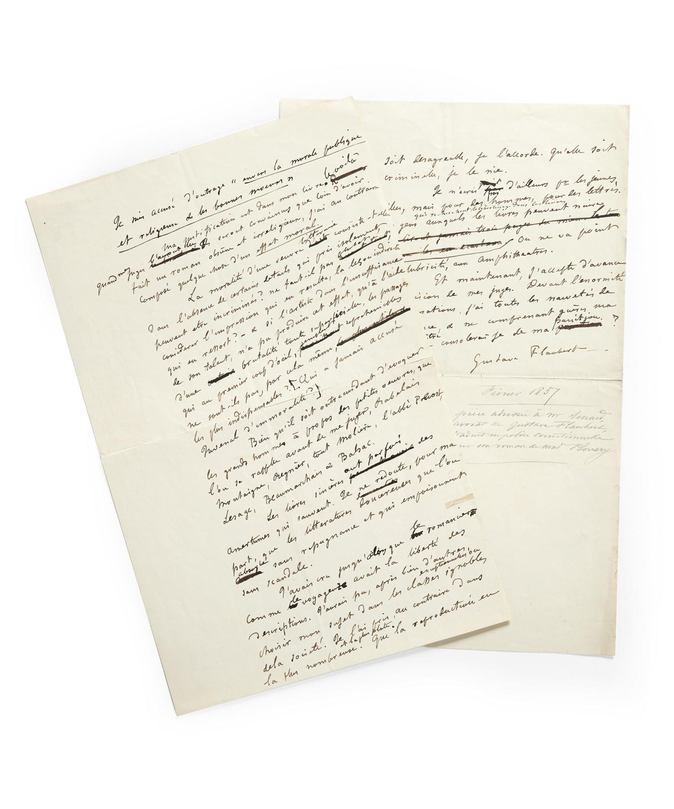 Gustave Flaubert (1821-1880), projet de préface au Mémoire en défense de MmeBovary, 15-30janvier1857, manuscrit autographe, 1page1/2 in-folio. Es