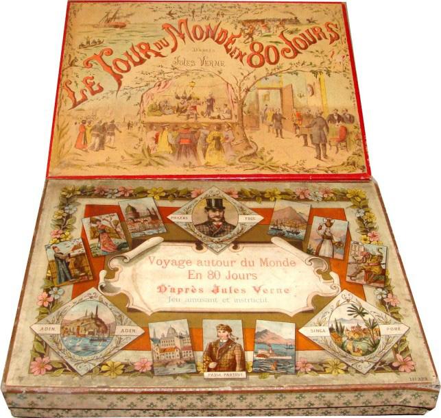1160€Différents jeux, dont un Jeu de l'oie du Tour du monde en 80jours d'après Jules Verne (2ex.).Salle V.V., 3mars2016. MillonOVV. M.Cazenave