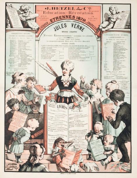681€J.Geoffroy, J.Hetzel, affiche entoilée Étrennes 1879, Jules Verne, Voyages extraordinaires, Amand Lith, Amsterdam, 66x50cm.Drouot, 30mai20